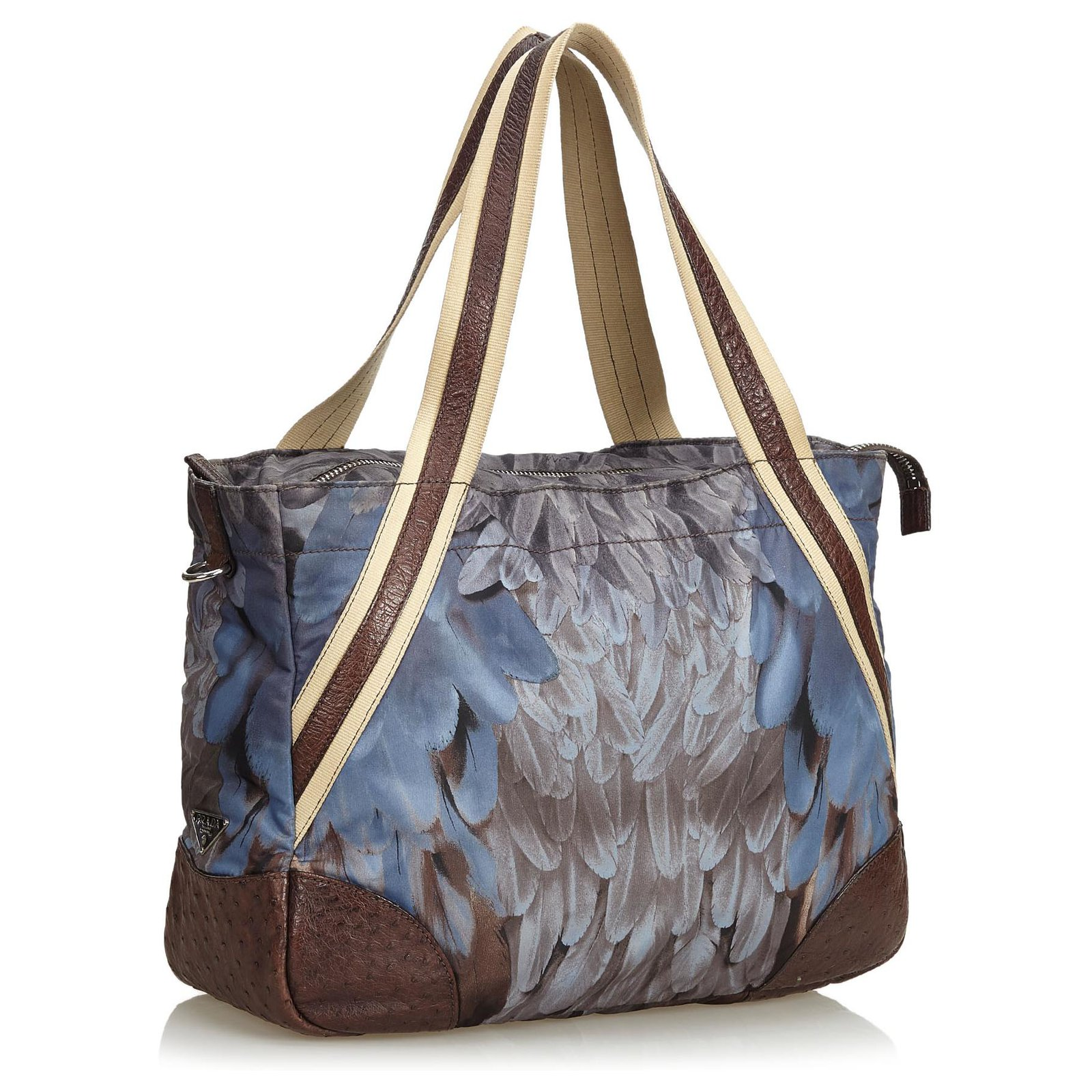 82e222905937 Prada Prada Blue Printed Nylon Weekender Travel bag Leather,Other,Nylon,Cloth  Blue,Multiple colors ref.125559 - Joli Closet