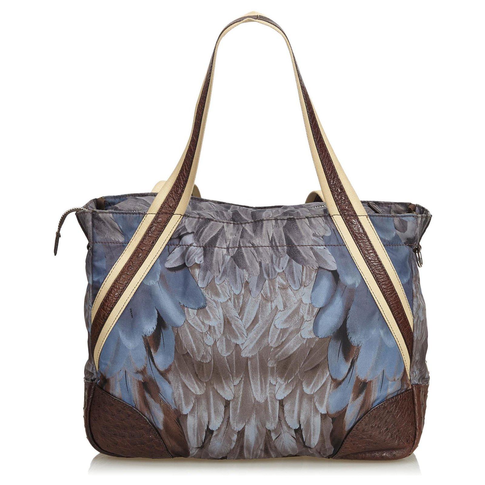 39e238b340cf Prada Prada Blue Printed Nylon Weekender Travel bag Leather,Other ...