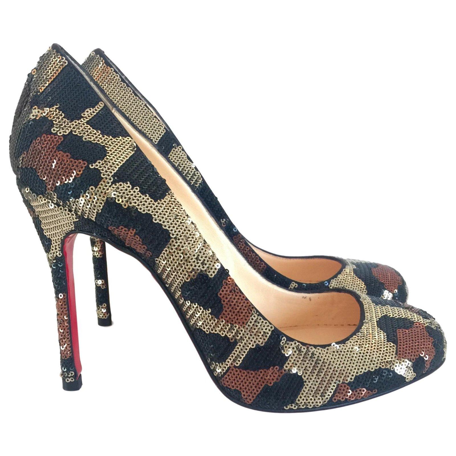 68b31fcf6a5e Christian Louboutin Heels Heels Leather Metallic ref.125633 - Joli Closet