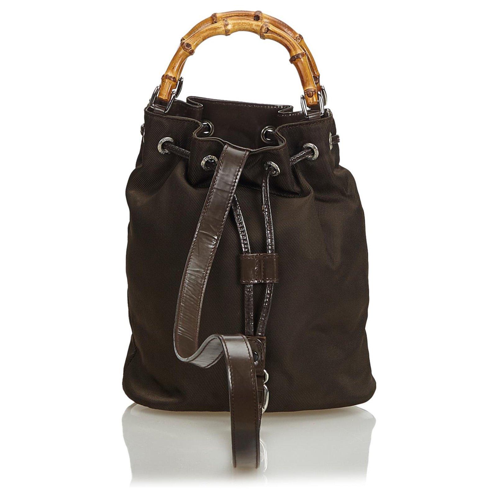 8340f28813285e Gucci Gucci Brown Bamboo Nylon Drawstring Backpack Backpacks Leather,Other, Nylon,Cloth Brown,Beige,Dark brown ref.125787 - Joli Closet