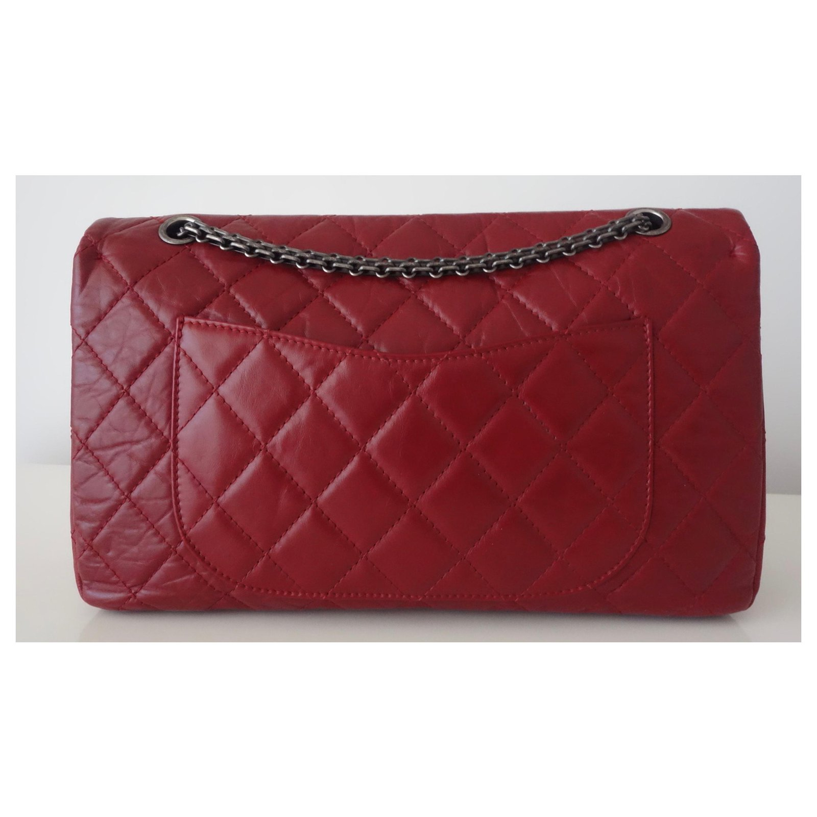 f86a393508f5 Chanel Chanel bag 2.55 RED JUMBO Handbags Leather Red ref.126048 - Joli  Closet
