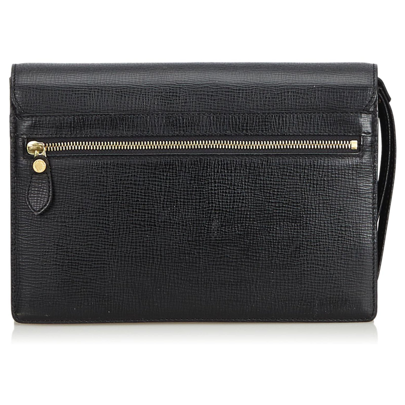 d624f82a804 Burberry Burberry Black Leather Clutch Bag Clutch bags Leather,Other Black  ref.128054 - Joli Closet