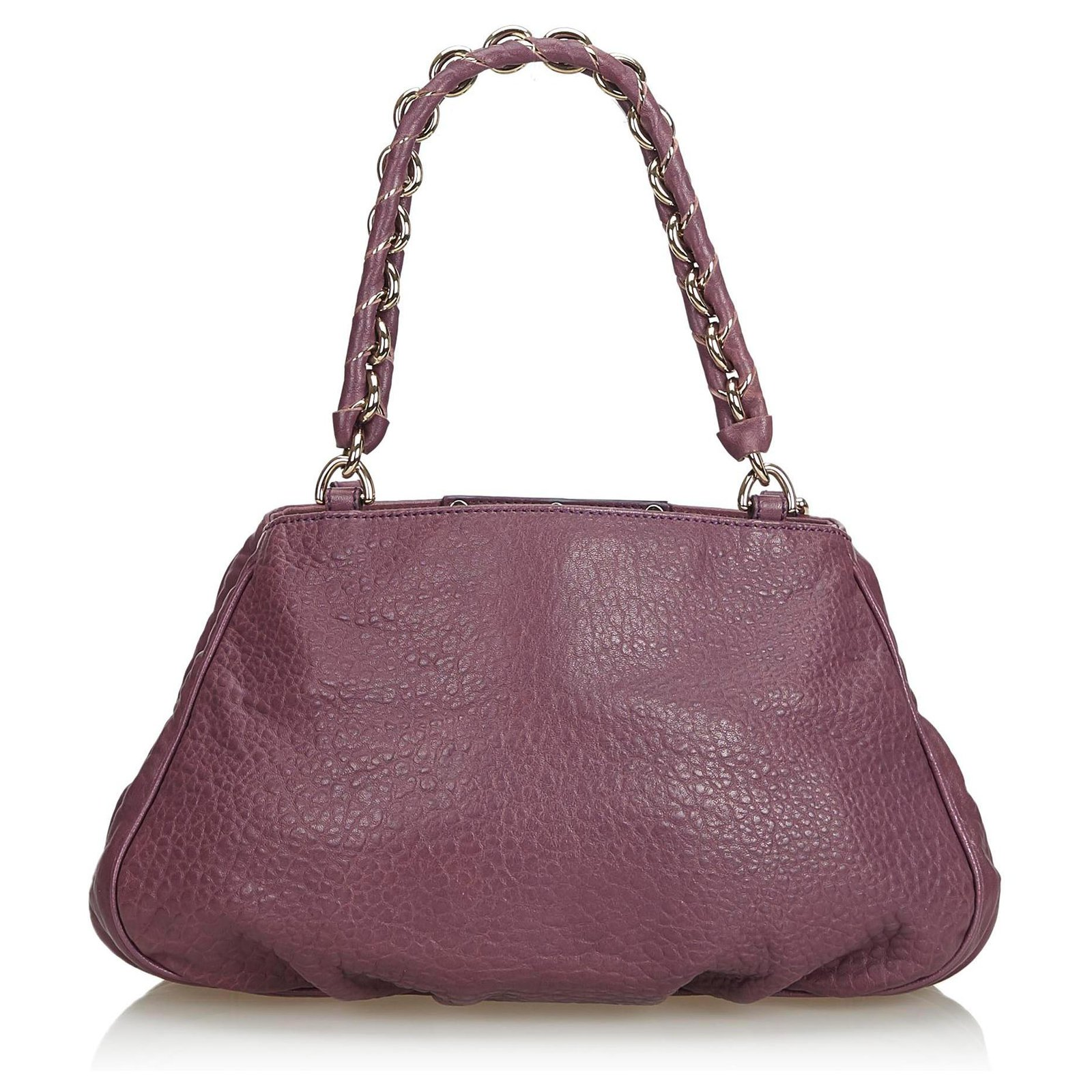 4213732239 Fendi Fendi Purple Leather Mia Shoulder Bag Handbags Leather,Other,Metal  Purple ref.129961 - Joli Closet