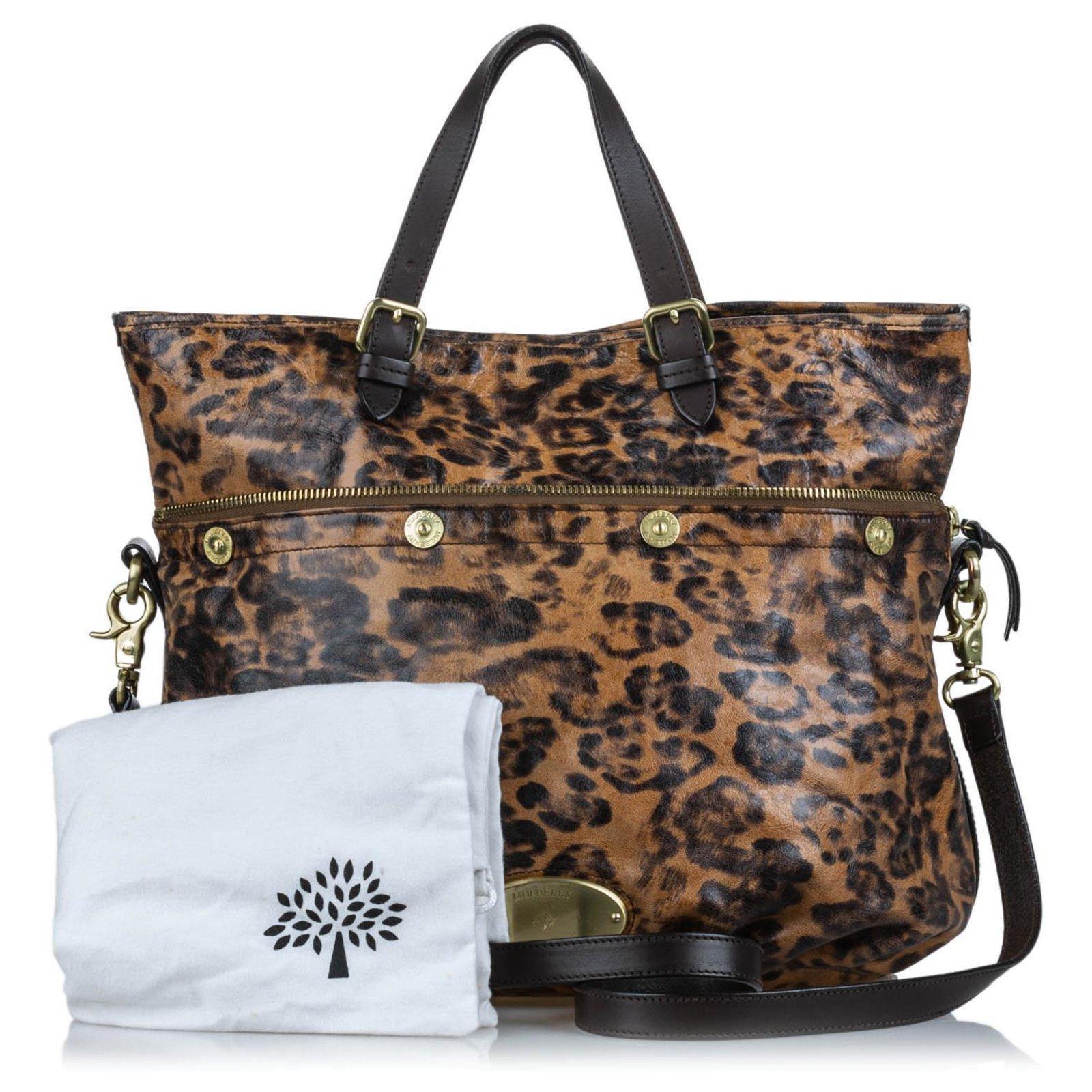 63f6aa8ba2b3 Mulberry Mulberry Brown Leopard Print Mitzy Satchel Handbags Leather,Other  Brown,Black ref.134115 - Joli Closet