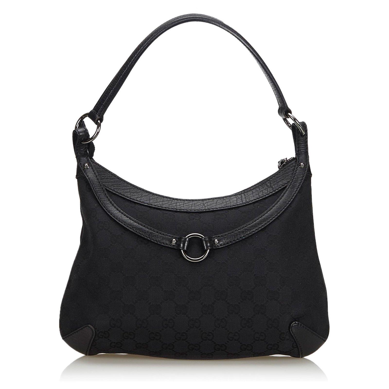 5943e1c1a Gucci Gucci Black GG Canvas Horsebit Hobo Bag Handbags Leather,Other,Cloth,Cloth  Black ref.134692 - Joli Closet