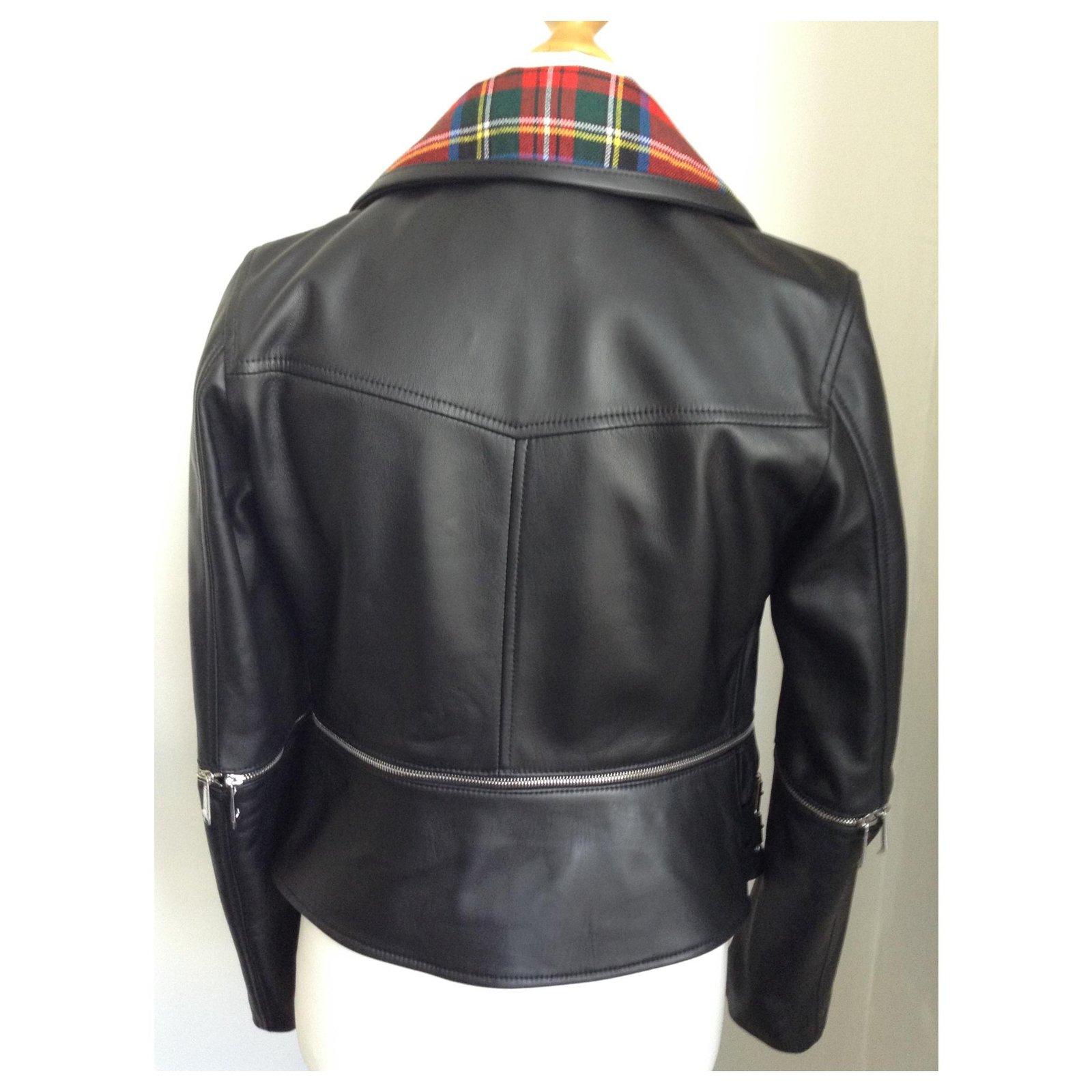Biker Lederjacke mit Reißverschluss und Schottenmuster