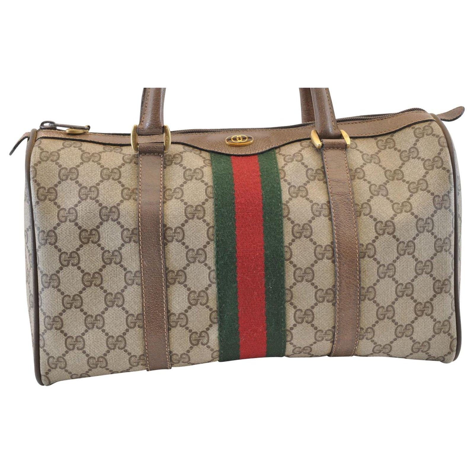GUCCI Sherry Line GG Canvas Shoulder Hand Bag Black Auth