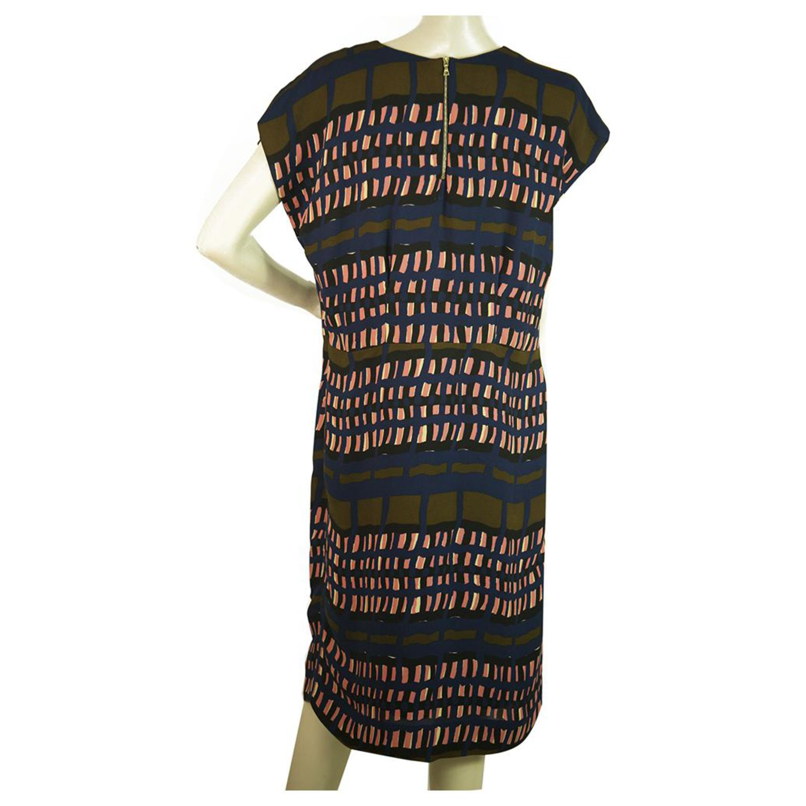 marni blue & brown & salmon geometric knielänge viskose kleid größe 44