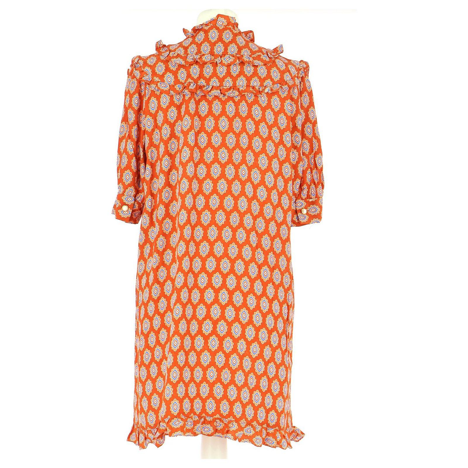 Sandro Robe Dresses Viscose Orange Ref 226472 Joli Closet