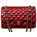 Chanel Patent Red Jumbo classic flap bag