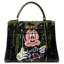 "Superb Hermes Kelly 28 black box leather revisited by artist DARYA entitled ""Guilty of love""! - Hermès"