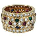 Bague Cartier, modèle Nigeria, en or jaune, diamants, rubis, saphirs et émeraudes.