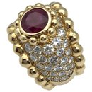 Chanel ring in yellow gold, rubies and diamonds