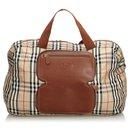 Burberry Brown Plaid Canvas Duffle Bag