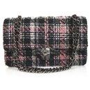Chanel classique 255 Tweed Gris Crème Doublé Rose Flap Bag Sac à main épaule moyenne