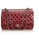 Chanel Red Classic Maxi Patent Leather lined Flap Bag