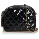 Chanel Black Patent Leather Quilted Chain Crossbody Bag