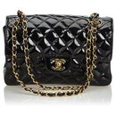Chanel Black Classic Small Patent Leather lined Sided Bag