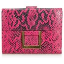 YSL Pink Python Print Leather Wallet - Yves Saint Laurent