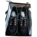 Chaussures espadrilles à lacets noires Chanel EU37.5