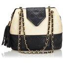 Chanel White Woven Raffia Chain Shoulder Bag