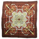 "CARRE HERMES 100% Silk - Brown scarf ""Spur of Gold"" - Hermès"