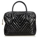 Chanel Black Patent Leather Chevron Business Bag