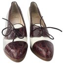 Christian Louboutin - Chaussures à lacets bicolores à lacets, Marron blanc, UE 41