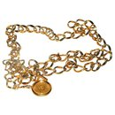 Chanel gold metal chain belt with logo medallion