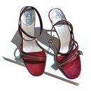 Sandales Dior cuir vernis rouge scintillant