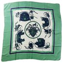 "Hermes Rare green and blue Silk scarf 90cm (36"") ""Ex-libris"" - Hermès"