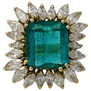 Emerald yellow gold and diamond ring. - inconnue