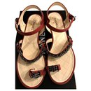 Chanel red leather chain sandals  EU38.5