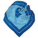 Chanel Blue Printed Silk Scarf