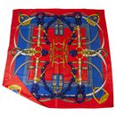 Hermes Red Grand Manege Silk Scarf by Henri d' Origny 88*88cm - Hermès