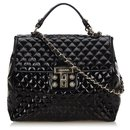 Chanel Black Quilted Patent Leather Satchel