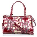Burberry Red Hearts House Check Pilgrim Satchel