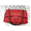 Channel Red Jumbo classic flap bag SHW - Chanel