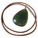 Leather + aventurine stone necklace - Autre Marque