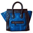 Beautiful and rare Céline Luggage two-tone bag in blue Python