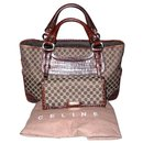 Céline Boogie in logo canvas and brown leather crocodile + Wallet