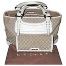 Céline Boogie in beige canvas and crocodile-like off-white leather + Matching wallet