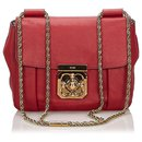 Chloe Red Leather Elsie Shoulder Bag - Chloé