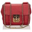 Chloe Red Leather Elsie Shoulder Bag - Chloé