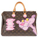 "Louis Vuitton Speedy 35 Monogram ""Pink Panther"" customized by PatBo!"