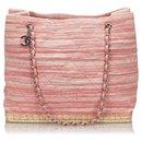 Chanel Pink Matelasse Canvas Shoulder Bag