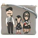 NEW DOLCE & GABBANA PATCH FAMILY CROSSBODY LEATHER BAG, Grey - Dolce & Gabbana