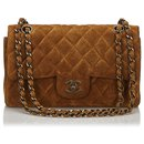 Chanel Brown Classic Small Suede lined Flap Bag