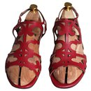 openwork red sandals - Hermès
