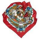 Hermes Red LEntente Cordiale Silk Scarf - Hermès